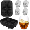 3D Skull Flexible Silicone Ice Cube Mold Tray, Makes Four 4 Cavities Ice Skulls, Round Ice Cube Maker For Thanksgiving & Christmas Day